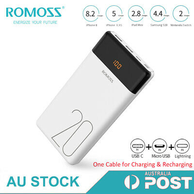 AU27.99 • Buy ROMOSS 20000mAh Power Bank Dual USB 2.1A Fast Charge Portable Battery Charger