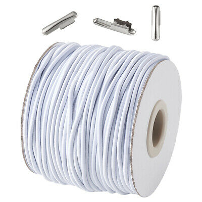 $ CDN19.32 • Buy 1 Set 2mm White Round Elastic Cord And Iron Half Cover Crimp End Caps DIY Kits