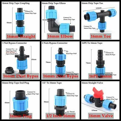2pcs 16mm Micro Irrigation Drip Tape Connectors Pipe Fittings Thread Locked More • 9.56£