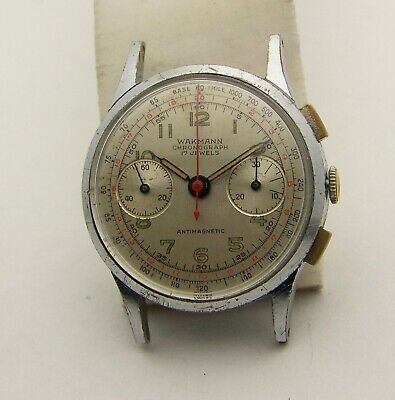 $ CDN809.65 • Buy Vintage 34mm 1940's Chrome Plated Wakmann 422 Chronograph Valjoux 92 Movement