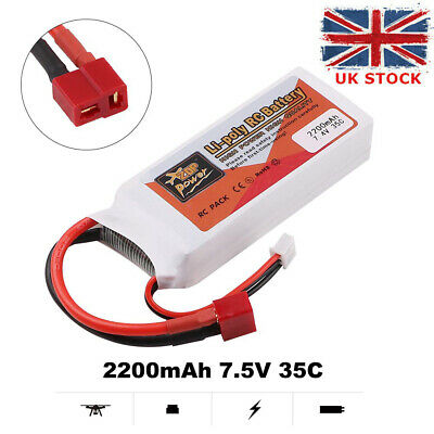 2200mAh 7.4V 35C 2S LiPo Battery T Plug Deans Connector For RC Car Airplane • 15.49£