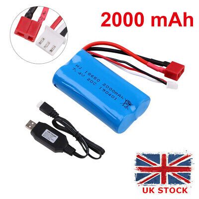 2000mAh 7.4V 2S Lipo Battery 20C T Plug Connector With USB Charger For RC Car UK • 14.99£