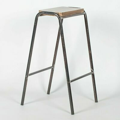 Industrial Science School Lab Raw Lacquer Steel Wooden Bar Stool Pub Cafe • 39.99£