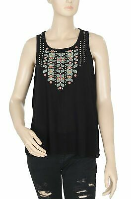 AU33.08 • Buy Oysho Embroidered Black Casual Summer Blouse Top Boho S New 192823