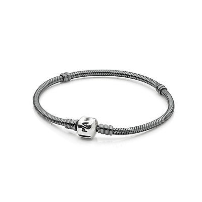 Authentic Pandora #590702ox-19 Oxidized Silver Charm Bracelet 7.5  Brand New F/s • 65.60£