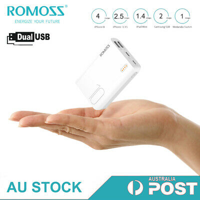 AU20.99 • Buy ROMOSS Power Bank 10000mAh Dual USB Fast Mini Portable Phone Battery Charger LED