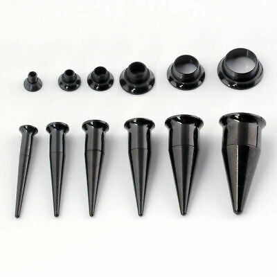 Surgical Steel 8G-00G Black Silver Taper Ear Tunnel Screw Plug Stretcher Kit Set • 4.92£