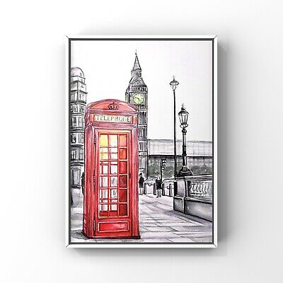 £5 • Buy London Art Print Sketch Red Phone Box Wall Art Poster Size A4 Bedroom Office