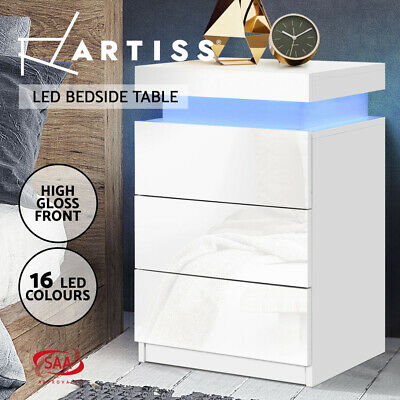 AU119.95 • Buy Artiss Bedside Tables Side Table 3 Drawers RGB LED High Gloss Nightstand White