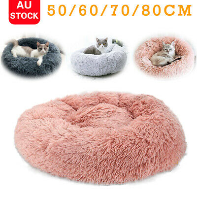 AU36.59 • Buy Pet Dog Cat Calming Bed Round Nest Warm Soft Plush Comfortable Deep Sleeping Mat