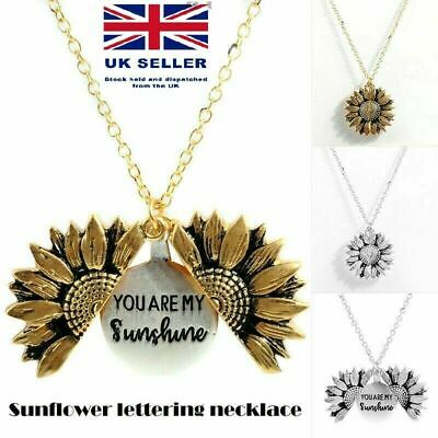 You Are My Sunshine Open Locket Sunflower Pendant Necklace Women Jewellery Gift • 2.69£