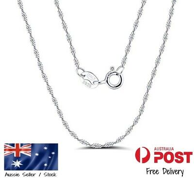 AU13.49 • Buy Solid Real 925 Sterling Silver Chain Beautiful Singapore Design Necklace