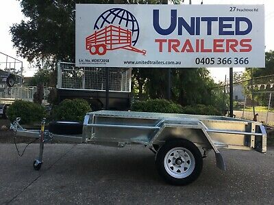 AU2450 • Buy 8 X 5 SINGLE GALVANISED BOX TRAILER WITH 600MM MESH CAGE + Spare Wheel