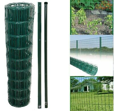 PVC Coated Galvanised Steel Wire Garden Fencing Fence Mesh Roll Metal Post Green • 63.96£