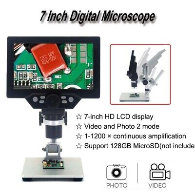 G1200 7'' LCD Display Digital Microscope 1-1200X Amplification Magnifier Camera • 67.29£