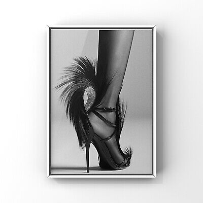 £4.75 • Buy Fashion Print Bedroom Beauty Room Wall Art Poster Black And White A4 Shoes YSL