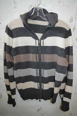 $29.99 • Buy Beautiful 100% Soft Cashmere Hoodie Zip Front Sweater  Gray Stripes