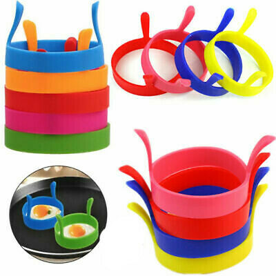 $3.99 • Buy 4x SILICONE Circle EGG RINGS PANCAKES NON STICK Fried Poach Mould Cake Mold