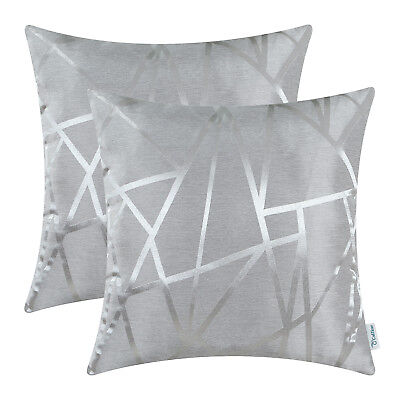 $ CDN16.93 • Buy 2Pcs Silver Gray Cushion Cover Pillow Case Decor Geometric Abstract Lines 16x16