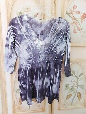 $8 • Buy One World Live And Let Live Black/White Floral Pull Over Top 3/4 Sleeves Size S