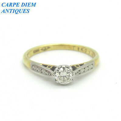 $91.60 • Buy Attractive 25pt Diamond Solitaire Solid 18k Gold Engagement Ring Uk J 1/2 & Us 5
