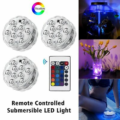 16 Colores Submersible Waterproof RGB LED Light Party Decor With Remote Control • 5.48£