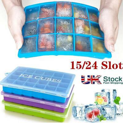 Large Silicone Ice Cube Mould Tray Plastic With Lid Home Freezer Maker Kitchen • 5.49£