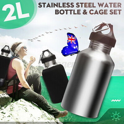 AU24.49 • Buy 2L Stainless Steel Cycling Sports Outdoor Water Drink Bottle WITH Bottle