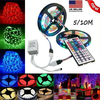 $12.69 • Buy 32FT Flexible Strip Light 3528 RGB LED SMD Remote Fairy Lights Room TV Party Bar