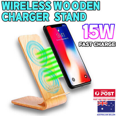 AU29.99 • Buy Oscar Zeus Qi 15W Fast Wireless Charging Charger Stand - Wood