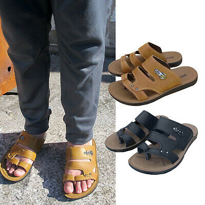 Mens Slider Sandals Toe Post Boys Faux Leather Mule Shoes Sizes Uk 6 7 8 9 10 11 • 14.49£