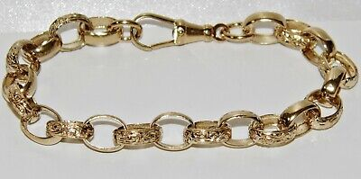 Solid 9ct Yellow Gold On Silver 8.25 Inch Oval Belcher Bracelet - • 59£