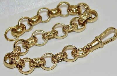 Solid 9ct Yellow Gold & Silver 8.5 Inch Belcher Bracelet • 85£