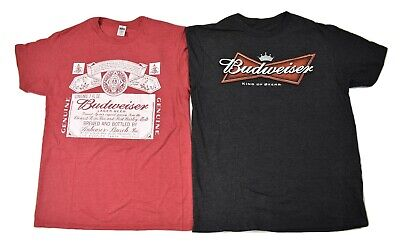$ CDN13.08 • Buy 2 Budweiser Mens Shirts, 1 Red Heather, 1 King Of Beers Bow Tie Logo Shirt New M