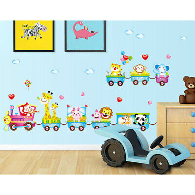 £3.51 • Buy Wall Stickers Nursery Room Decor Baby Kids Art Mural Removable Animals Train
