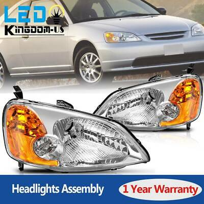 $63.18 • Buy Headlights Headlamp Pair For 2001 2002 2003 Honda Civic 4-Door Sedan Replacement