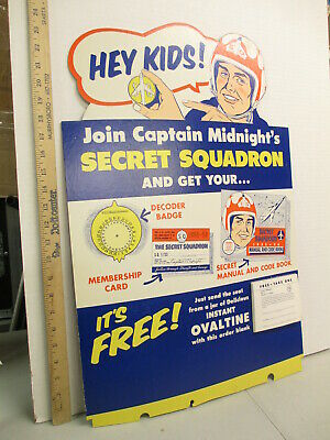 $550 • Buy CAPTAIN MIDNIGHT 1955-1956 Ovaltine Decoder Member Kit Premium Display Sign #AD