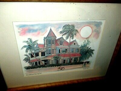 $19.99 • Buy Southernmost House Key West Florida Robert R E Kennedy Framed Signed Print Art