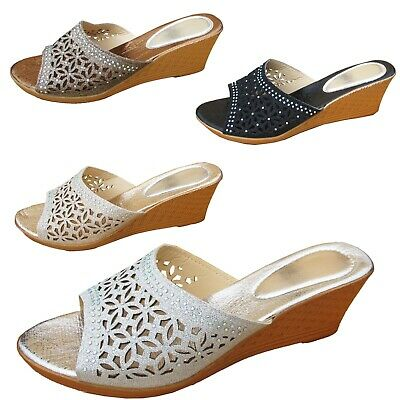 Ladies Floral Sandals Womens Cut Out Open Toe Wedge Slip On Mules Shoes Size • 4.99£