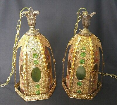 $299 • Buy Vintage 1950s Spanish Gothic Hanging Light Lamp Pair - Pre-Owned