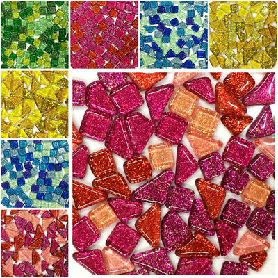 Colorful Glitter Glass Mosaic Tiles Pebble Children Puzzle For DIY Craft Making • 5.09£