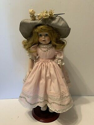 "$ CDN18.79 • Buy Vintage 16"" Porcelain Doll Girl Pink Dress 2 Hats"