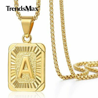 $7.99 • Buy 14K Gold Plated Initial Letter A-Z Pendant Necklace Choker For Mens Womens Chain