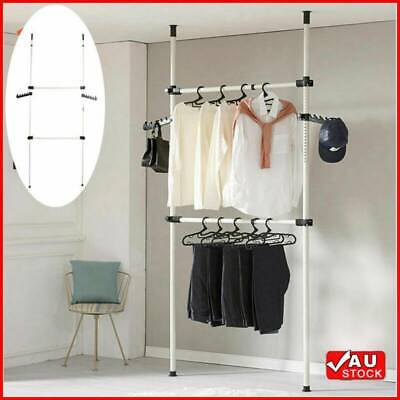 AU29.99 • Buy Adjustable Heavy Duty Garment Rack Holder Clothes Hanger Shelf Wardrobe