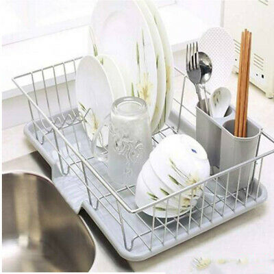 Kitchen Dish Rack Drainer With Drip Tray And Cutlery Holder For Kitchen Sink • 16.98£