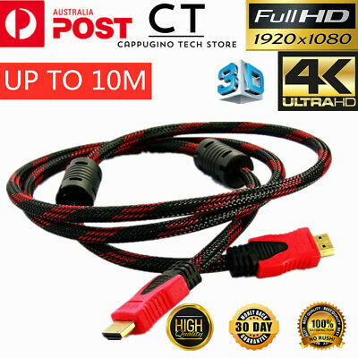 AU6.48 • Buy Braided HDMI Cable 3D Ultra HD 4K Certified V1.4 High Speed Gold Plated ARC HEC