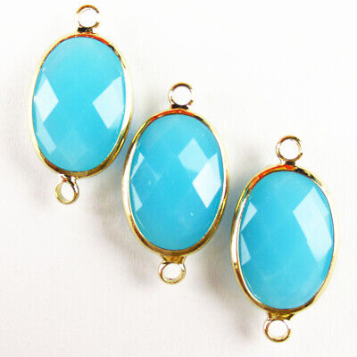 $ CDN25.49 • Buy 10Pcs Wrapped Faceted Sky Blue Jade Oval Connector Pendant Bead 18x13x6mm A49BBS
