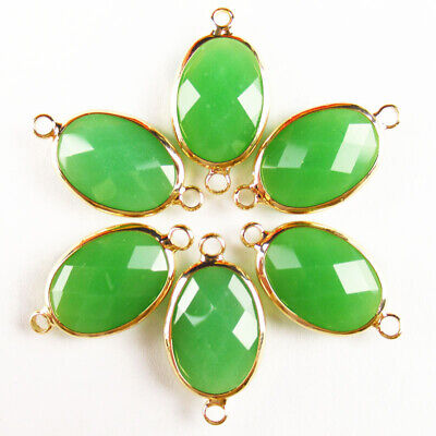 $ CDN25.49 • Buy 10 Pcs Wrapped Faceted Green Jade Oval Connector Pendant Bead 18x13x6mm A-51BBS