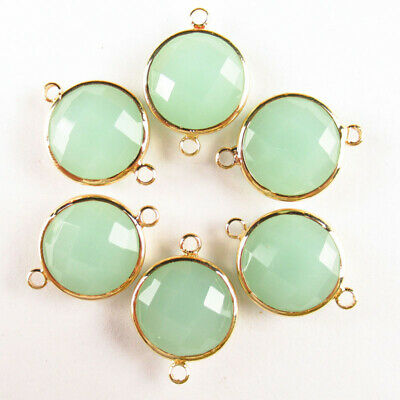 $ CDN25.49 • Buy 10Pcs 15x6mm Wrapped Faceted Cyan Jade Round Connector Pendant Bead A-27BBS