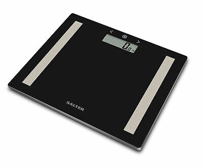 £14.99 • Buy Salter BMI Body Fat Scales 9113 BK3R Compact Black Glass Bathroom Analyser Scale